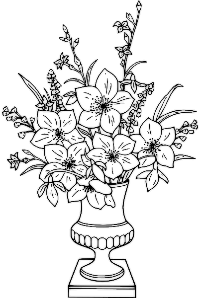Bouquet clipart black and white. Flower