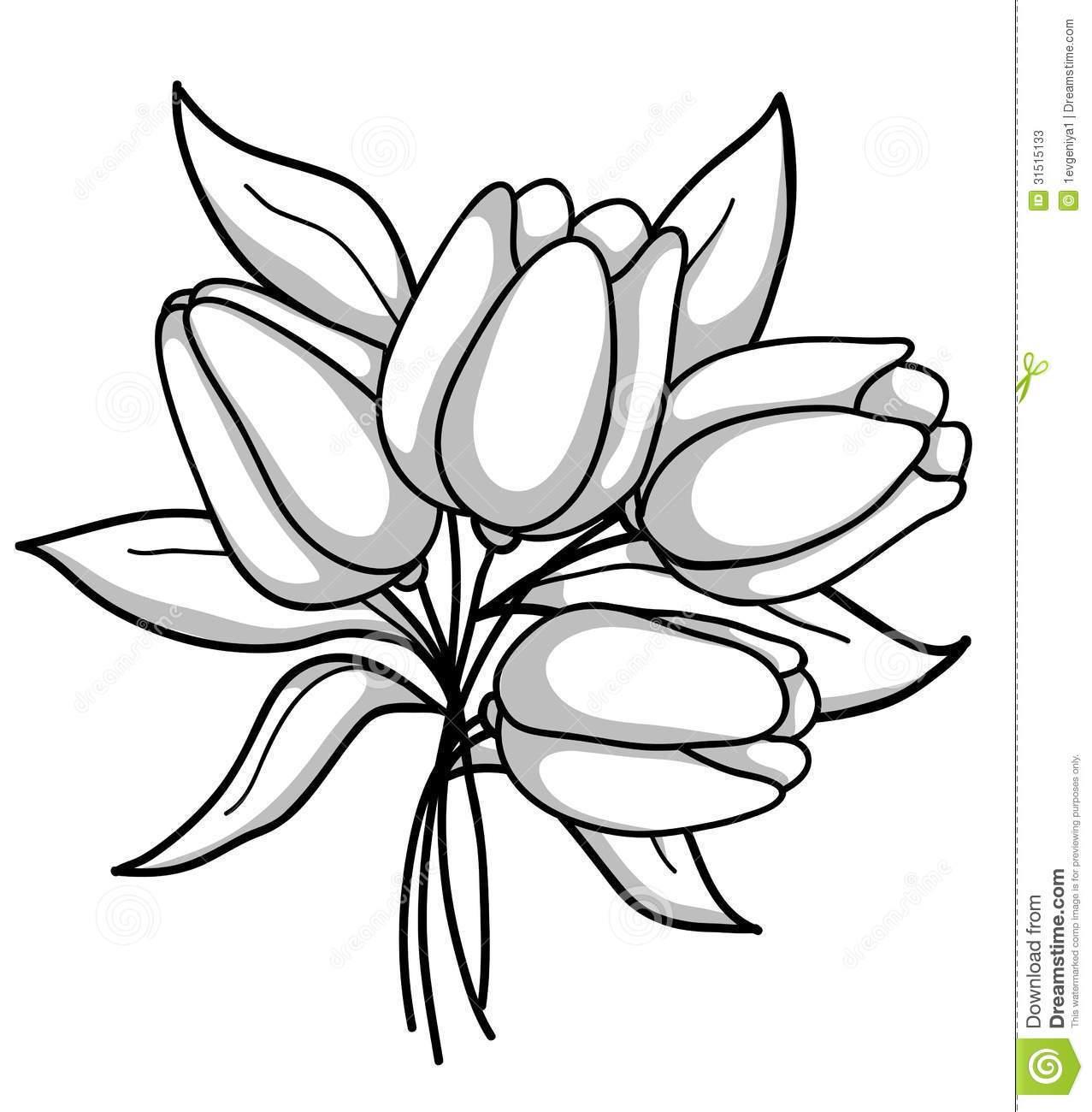 Flower station . Bouquet clipart black and white