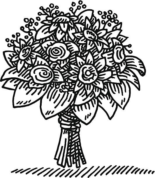 Flower station. Bouquet clipart black and white