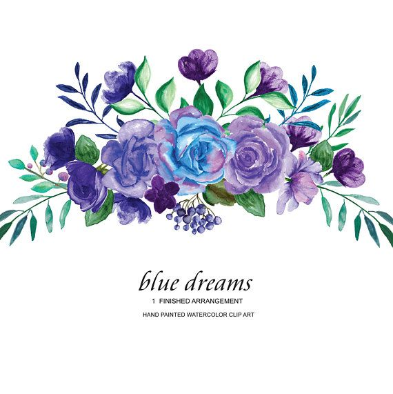 Purple roses watercolor flower. Bouquet clipart blue