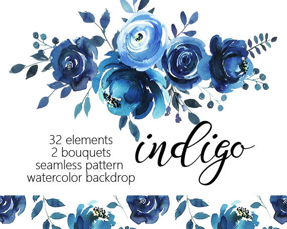 Bouquet clipart blue. Indigo watercolor floral design