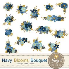 Bouquet clipart blue. Rustic flowers quote floral