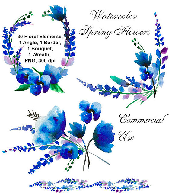 Bouquet clipart blue. Watercolor flowers floral