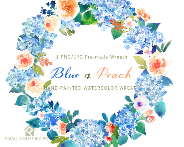 Digital watercolor flower peonies. Bouquet clipart blue