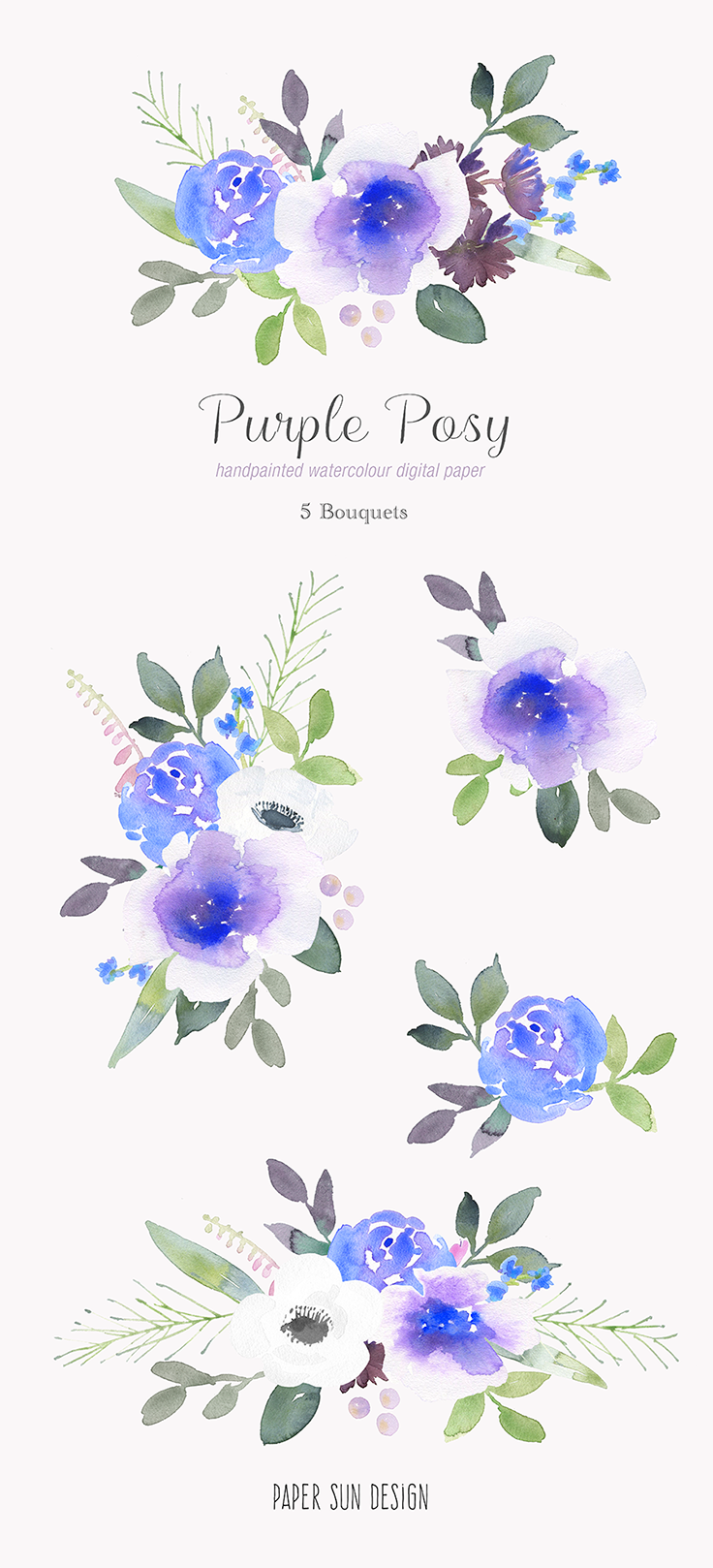 Watercolor purple floral flower. Bouquet clipart blue