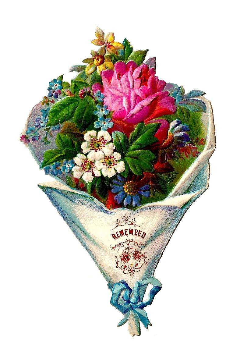Antique images free flower. Bouquet clipart blue