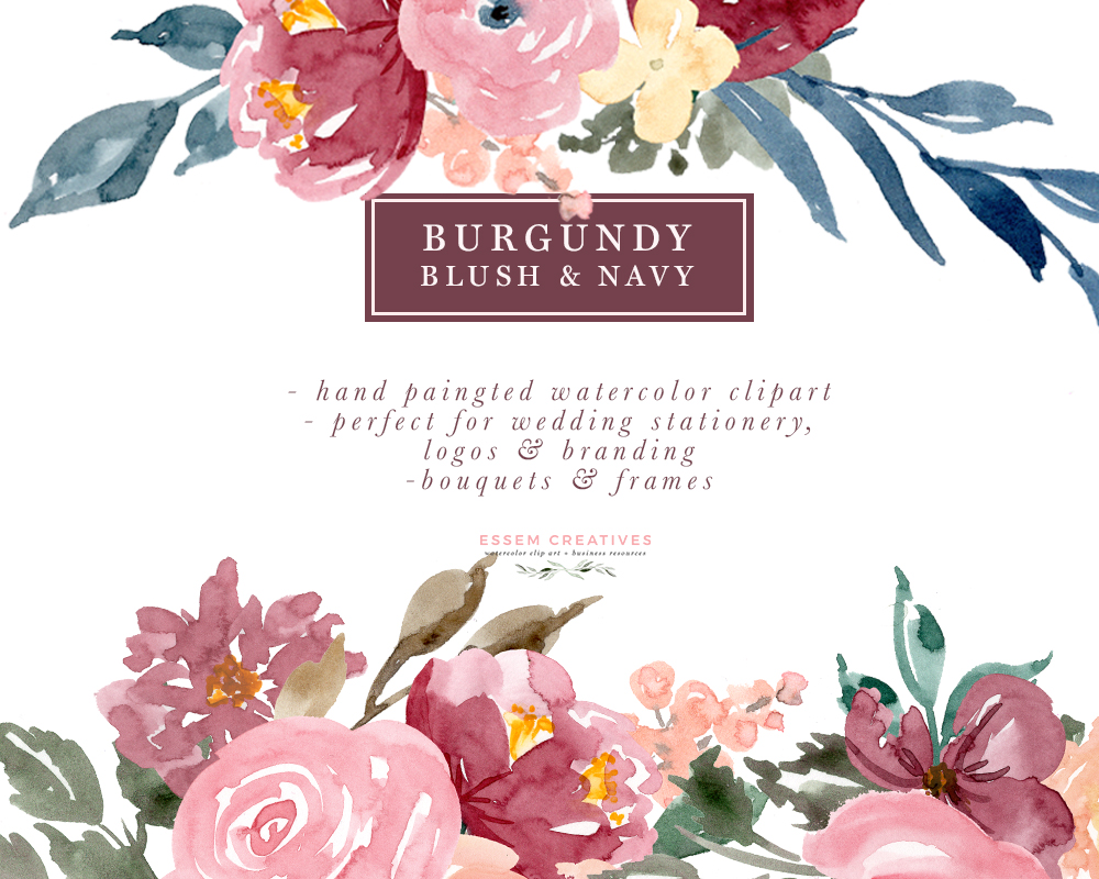 Bouquet clipart border. Burgundy blush navy floral