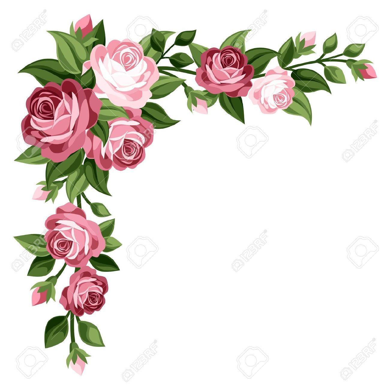 Rose flower tags pinterest. Bouquet clipart border