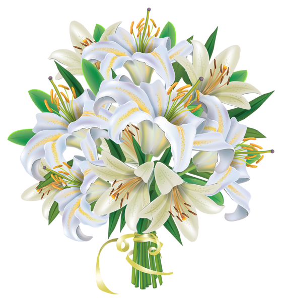 Bouquet clipart bouqet. White lilies flowers png