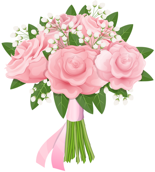 Pink rose free png. Heart clipart bouquet