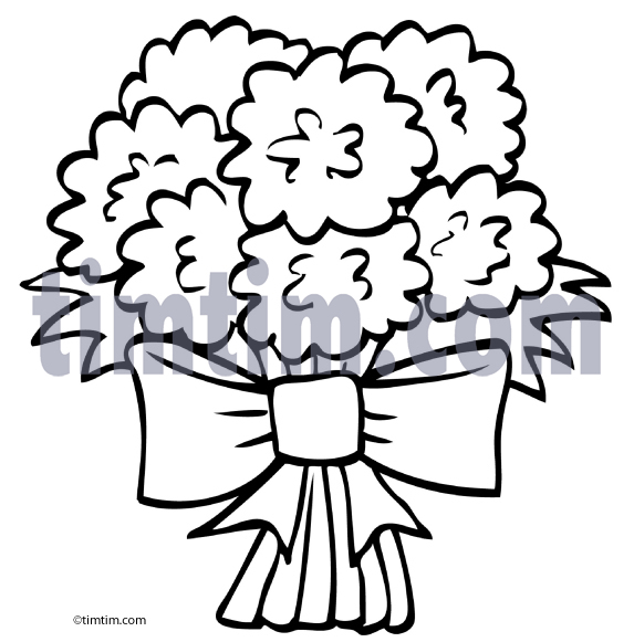 Free drawing of flower. Bouquet clipart bow