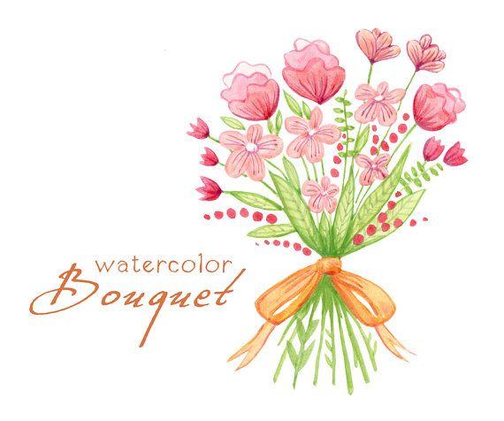 Bouquet clipart bridal bouquet. Digital watercolor flowers wedding