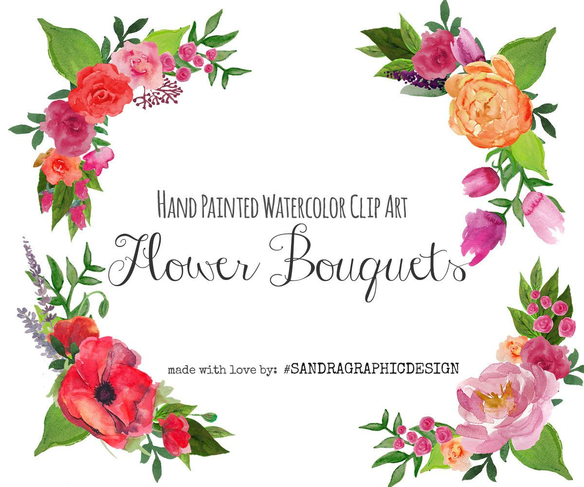 Bouquet clipart bride flower. Floral clip art frame