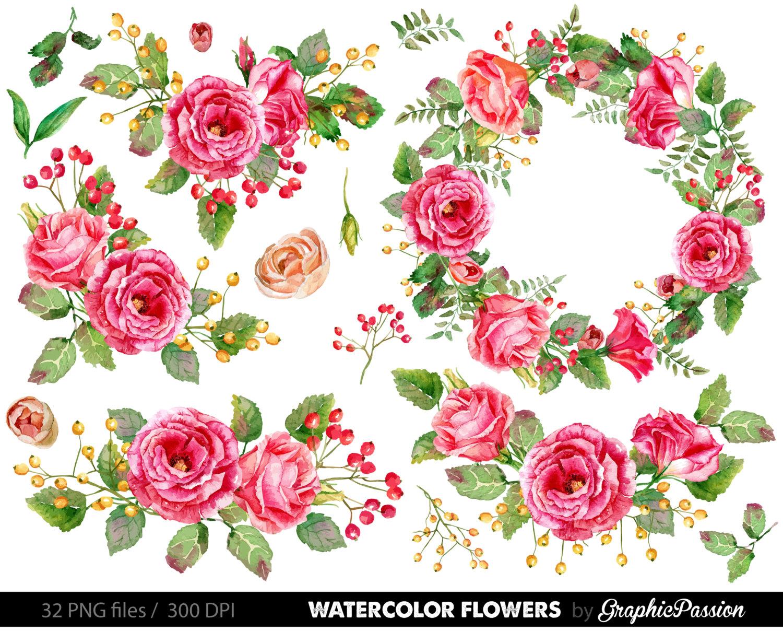 Watercolor Flower Clipart Wedding floral Clip art Floral