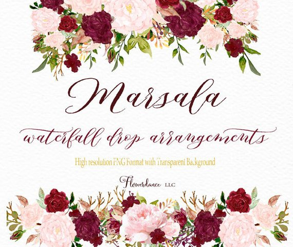Marsala and blush watercolor. Bouquet clipart burgundy