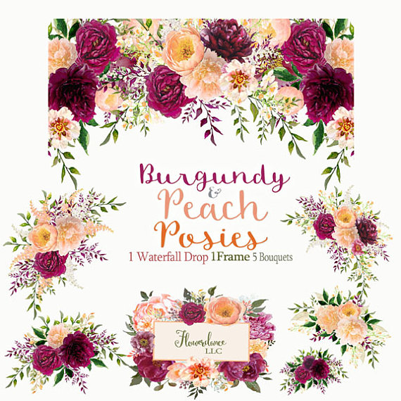 And peach watercolor drop. Bouquet clipart burgundy