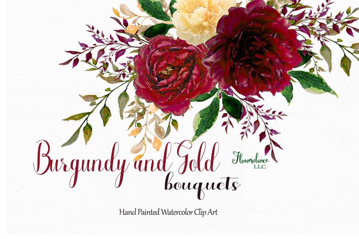 Watercolor and gold bouquets. Bouquet clipart burgundy