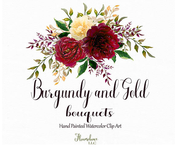Bouquet clipart burgundy. And gold watercolor flower