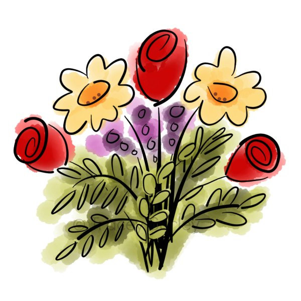 Bouquet clipart cartoon. Watercolor flower original art