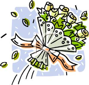 A wedding of roses. Bouquet clipart cartoon