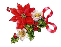 Vintage flower holly and. Bouquet clipart christmas