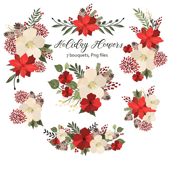 Holiday flowers floral holidays. Bouquet clipart christmas