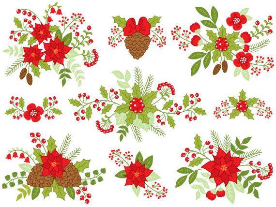 Bouquet clipart christmas. Digital vector berry holly