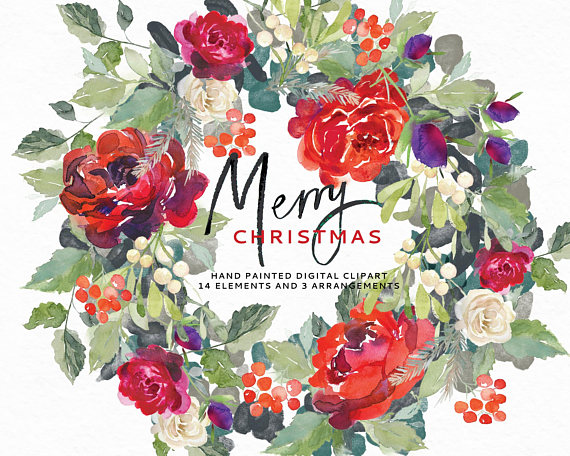 Bouquet clipart christmas. Merry watercolor perfect for