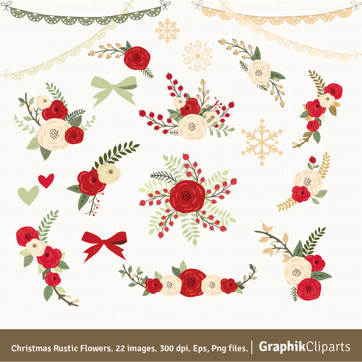 Rustic flowers floral . Bouquet clipart christmas