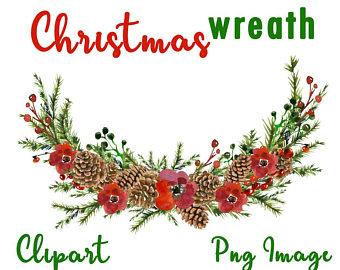 Wreath clip art watercolor. Bouquet clipart christmas
