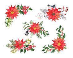 Bouquet clipart christmas. Watercolor clip art twigs