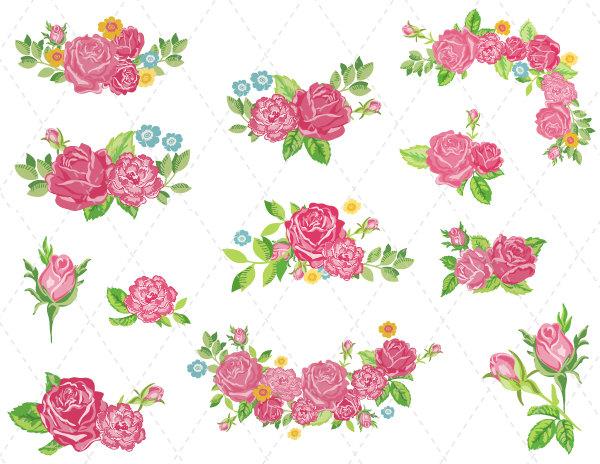 Bouquet clipart clip art. Digital flower pink