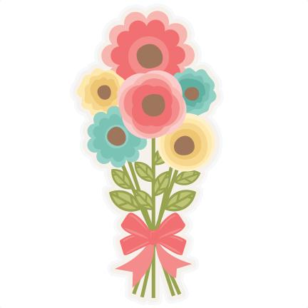 Bouquet clipart cute. Flower svg scrapbook cut
