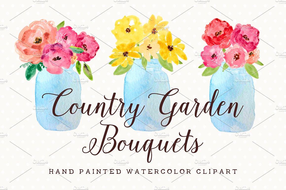 Watercolor flowers mason jar. Bouquet clipart cute