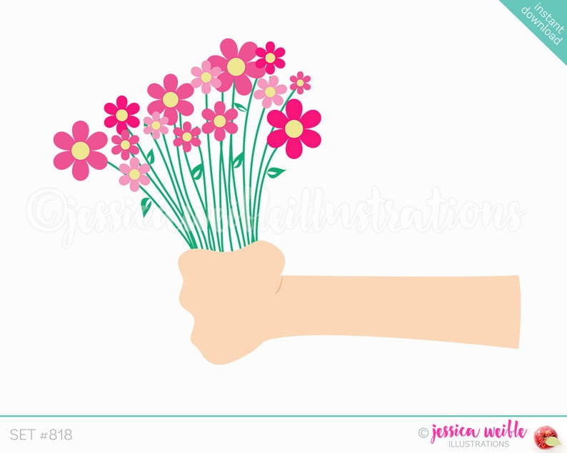 Bouquet clipart cute. Instant download holding a