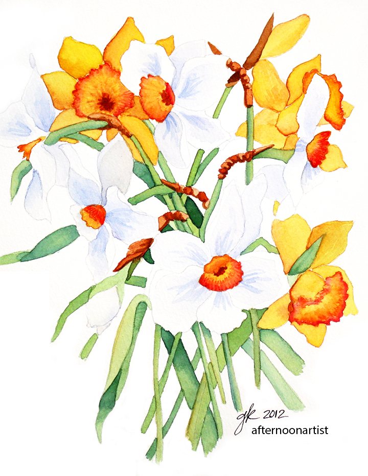 In watercolor afternoon artist. Bouquet clipart daffodils