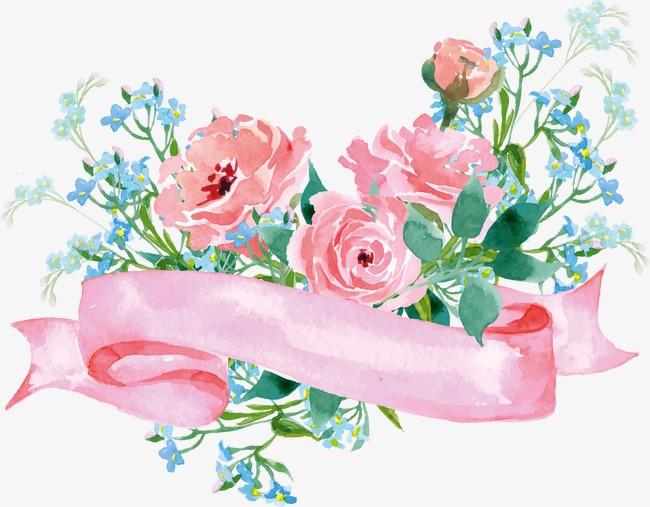 Bouquet clipart decoration. Floral rose blue flowers