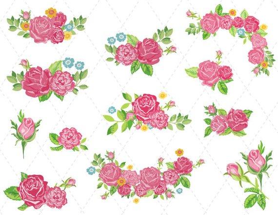 Digital flower pink clip. Bouquet clipart decoration