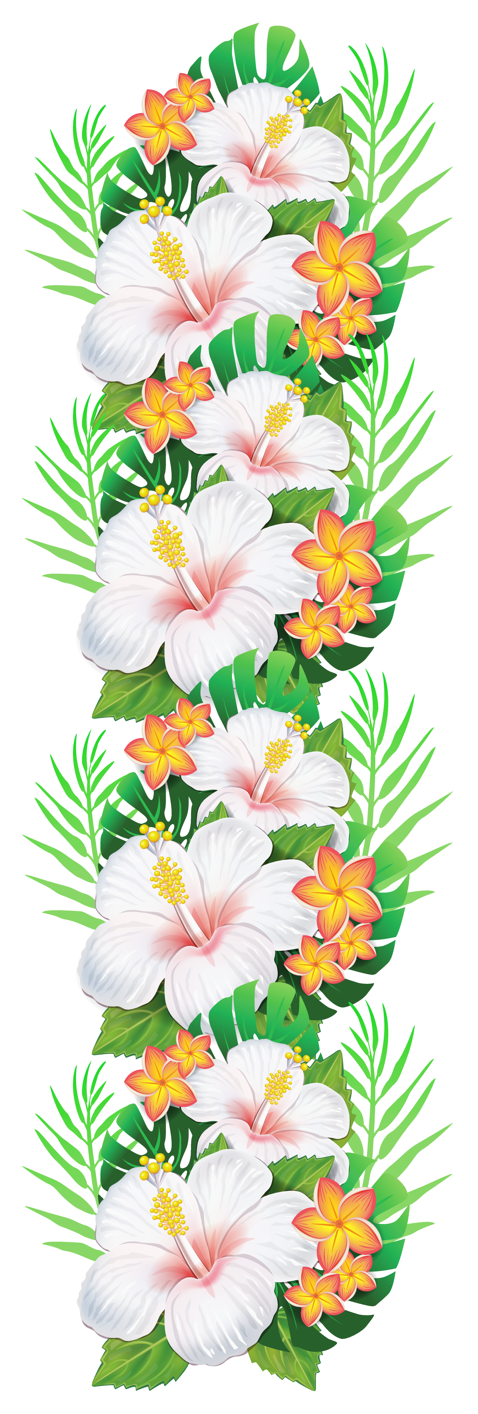 Curtains clipart flower. White exotic flowers decoration