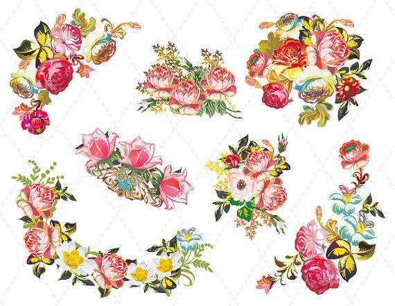 Bouquet clipart decoration. Digital flower clip art
