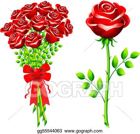 Vector art of roses. Bouquet clipart dozen rose