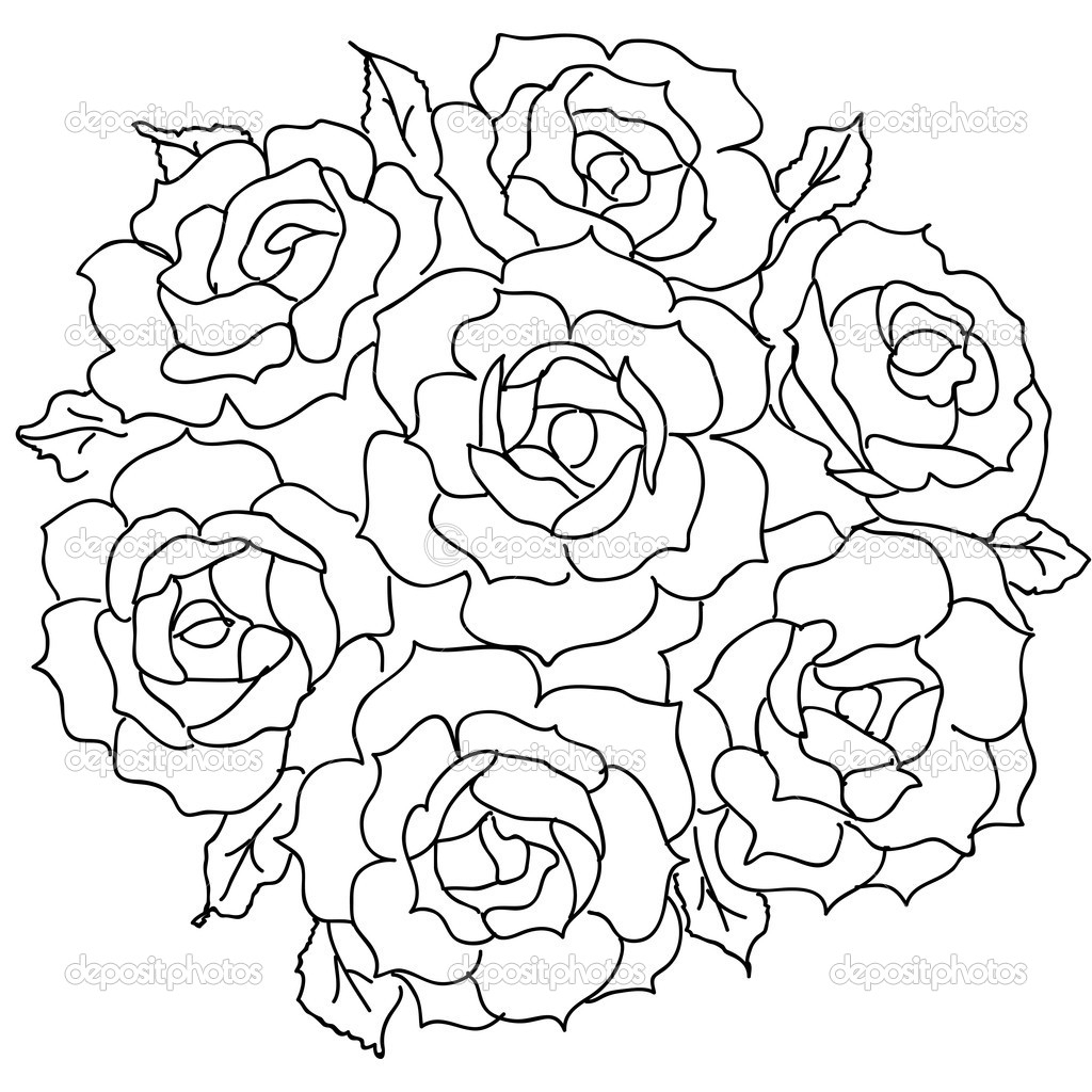 Bouquet clipart drawing. Of roses flowers panda