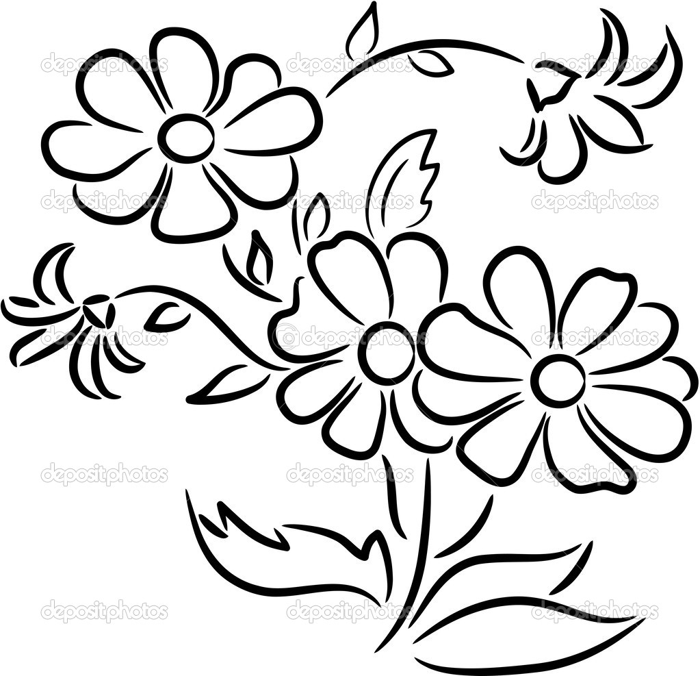 Bunch of flowers panda. Bouquet clipart drawing