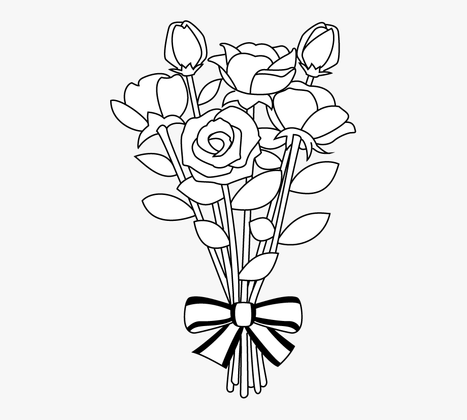 Bouquet clipart drawing. Flower library black and