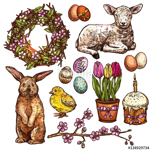 Bouquet clipart easter. Hand drawn set of