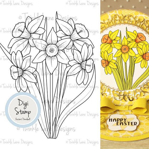 Daffodils digi stamp flowers. Bouquet clipart easter