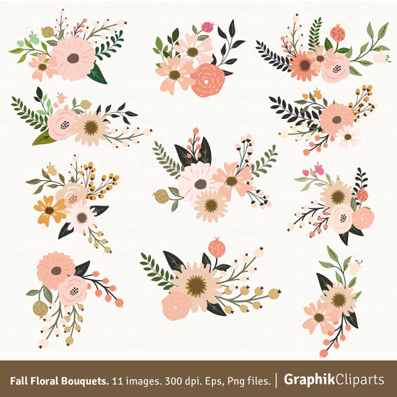 Fall bouquets vector flowers. Bouquet clipart floral