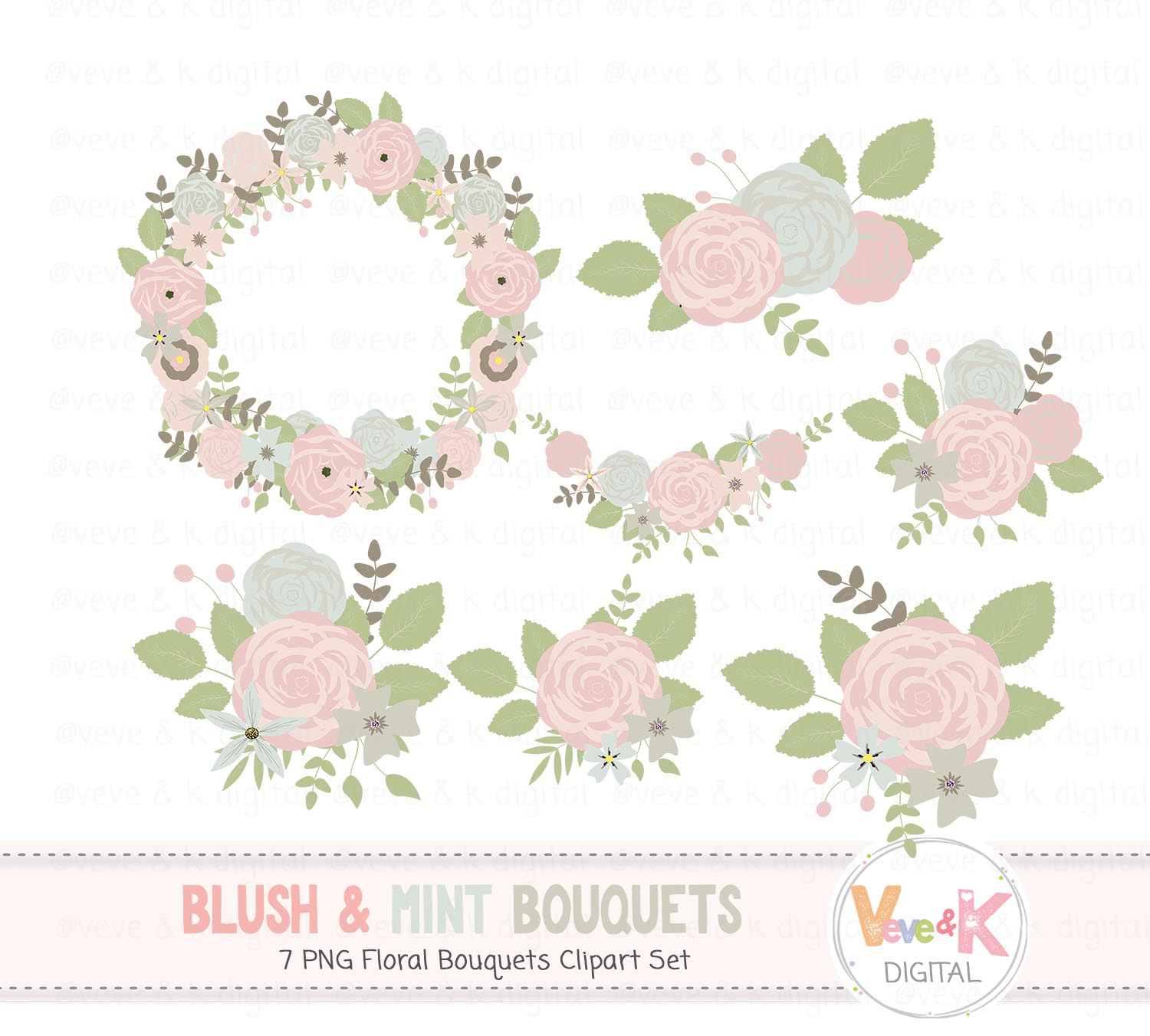 Blush and mint floral. Clipart roses baby