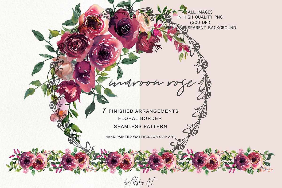 Bouquet clipart floral. Watercolor maroon rose