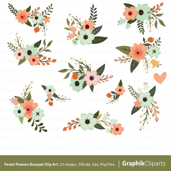 Bouquet clipart floral. Pastel flowers flower vector